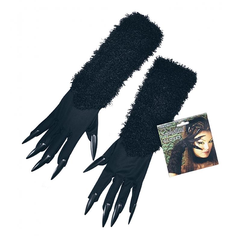 Zwarte handschoenen met zwarte nepnagels. de handschoenen zijn ca. 30 cm lang en geschikt voor volwassenen. ...