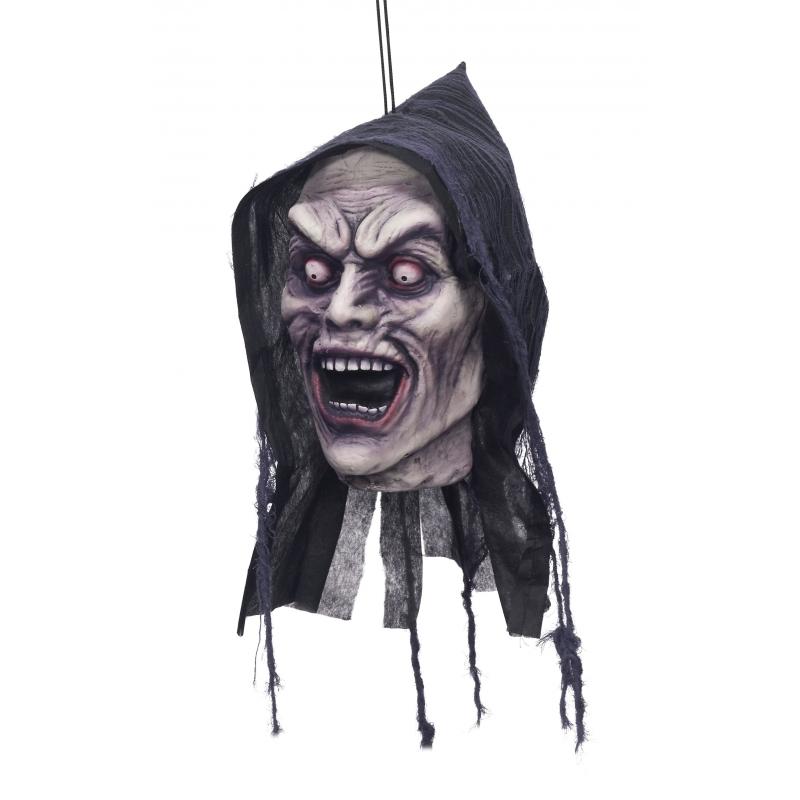 Halloween - Deco horror afgehakt zombie hoofd met capuchon