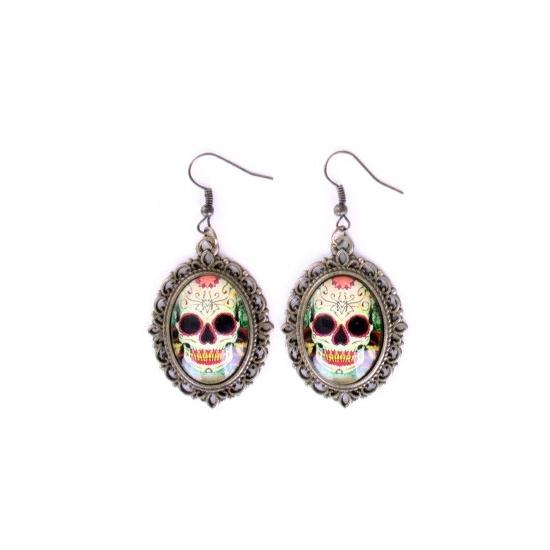 Halloween - Sugar skull oorbellen goud type 3