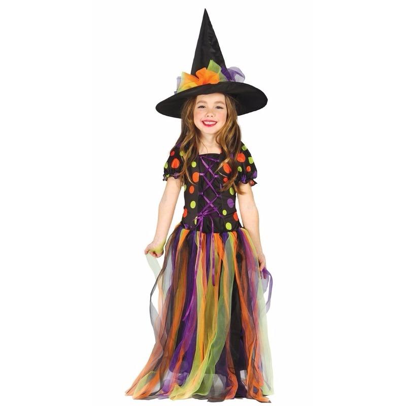 Heksen verkleedjurkje regenboog voor meisjes