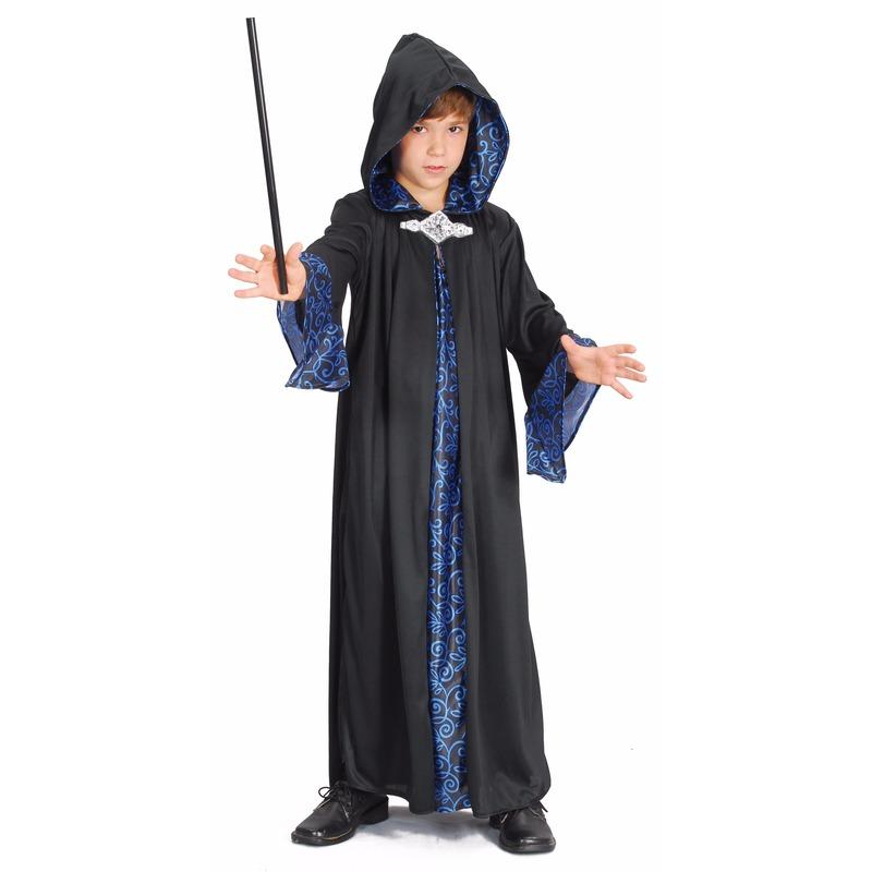 Kinder tovenaar cape blauw/zwart