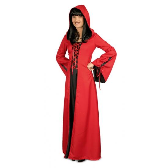 Middeleeuwse rode jurk met capuchon