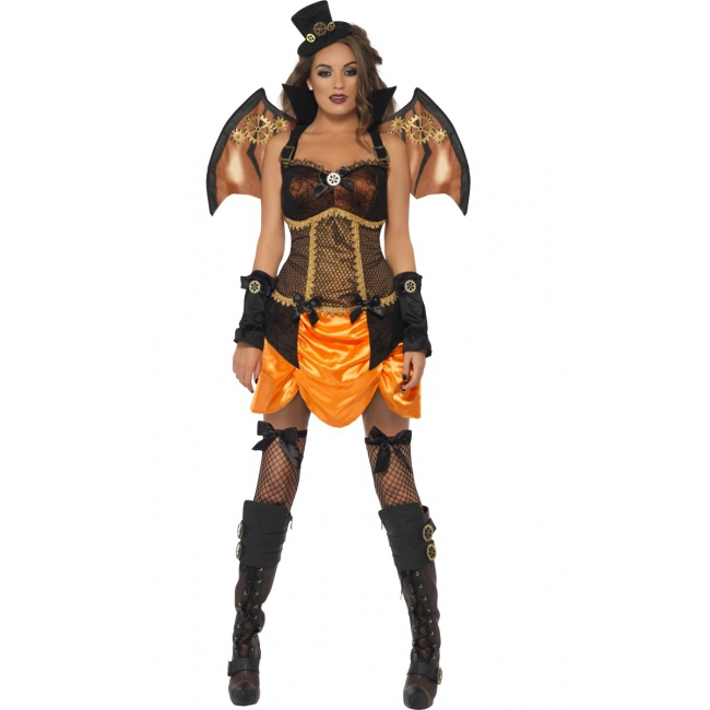 Sexy steampunk vleermuis outfit dames
