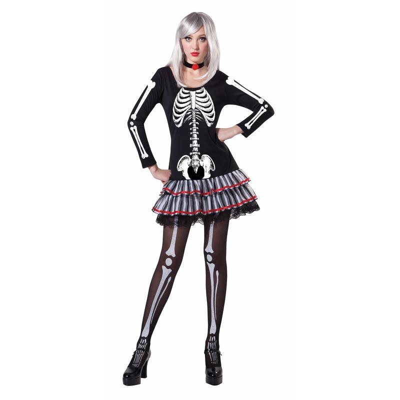 Skelet verkleed kostuum voor dames