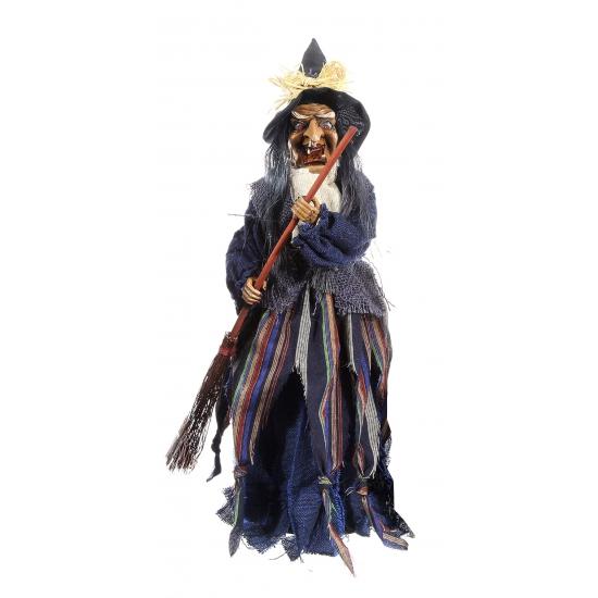 Staande heksen pop 50 cm grijs