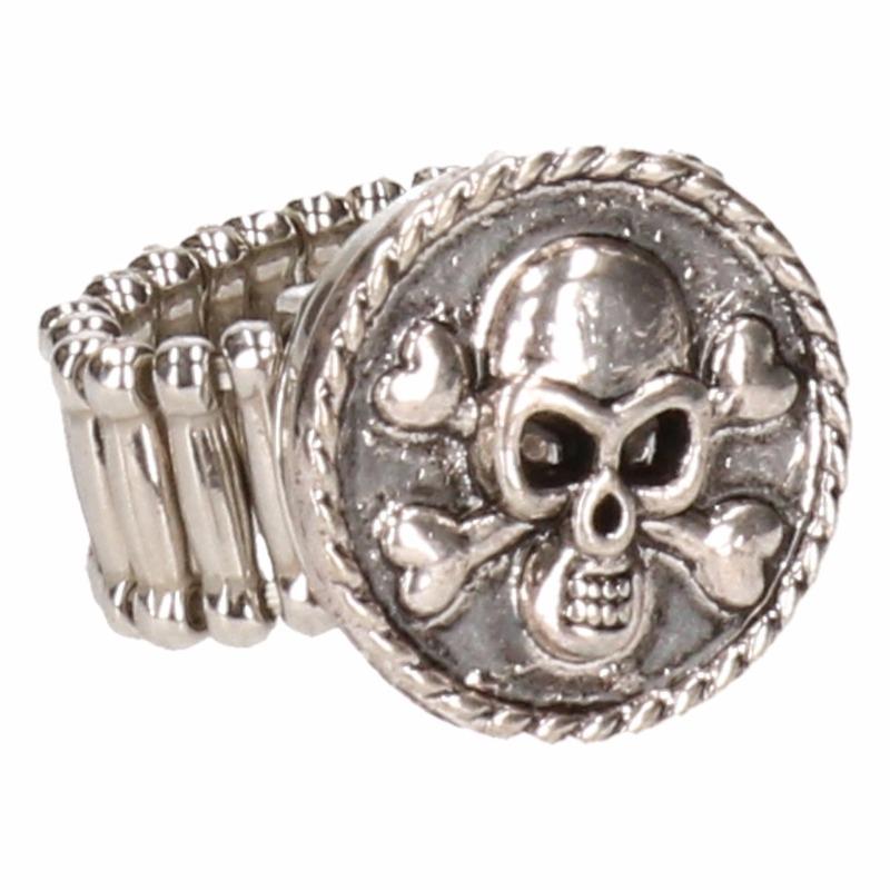 Zilveren ring met doodshoofd chuck