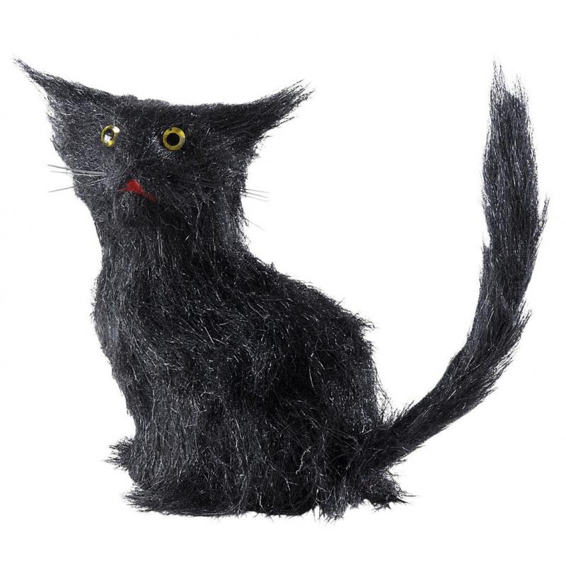 Zwarte decoratie poezen 12 cm