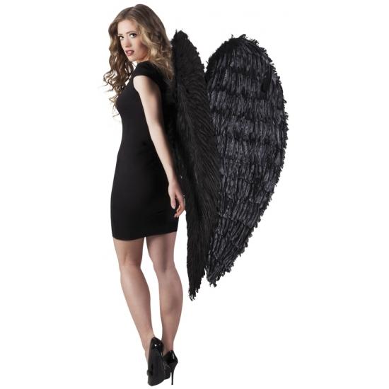 Zwarte grote vleugels 120 cm