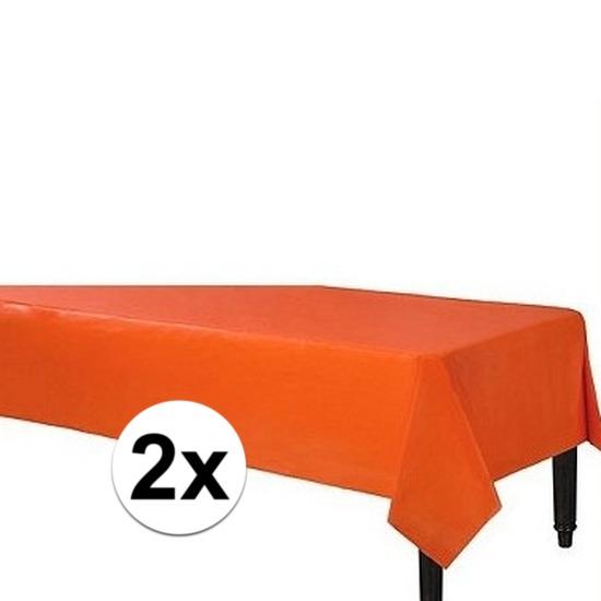 2x Wegwerp tafelkleed oranje 140 x 240 cm