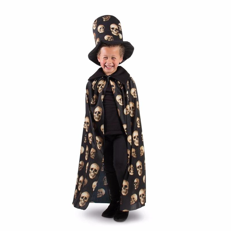 Cape zwart met hoge hoed voor jongens