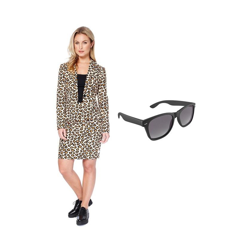 ee1186153f4de6 Feest luipaard print rok en blazer 34 (XS) voor heren met gratis zonnebril