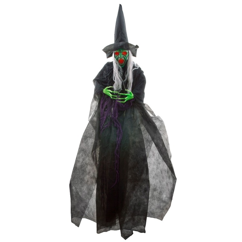 Halloween pratende heks pop met licht 180 cm