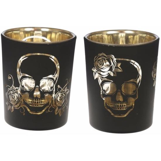 Halloween skelet kaarshouder 2 stuks zwart-goud