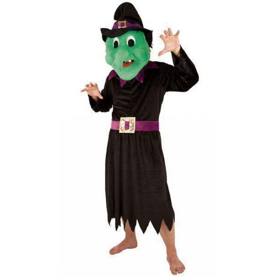 Heksen kostuum met groot pluche masker. een compleet kostuum met groot paars pluche masker van een ...