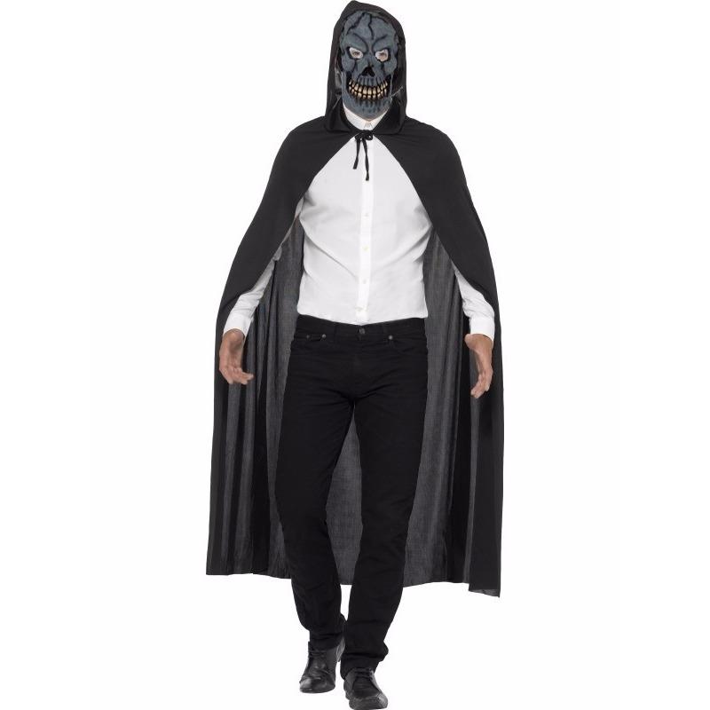 Horror cape met Halloween skelet masker