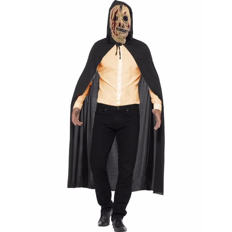 Horror cape met zombie rits masker