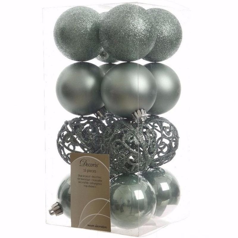 Halloween Kerst Kerstballen Mint 6 Cm Nature Christmas 16 Stuks In