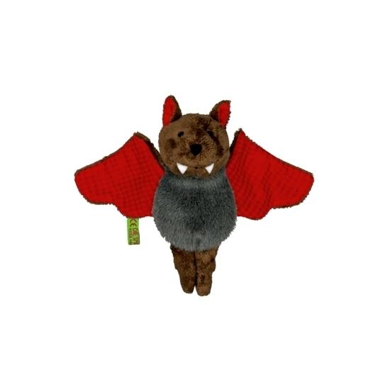 Vleermuis knuffeltje met rode vleugels 14 cm