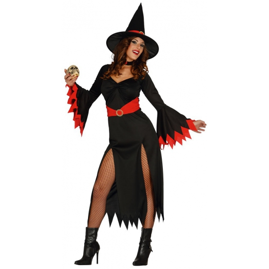 Rode Party Jurk.Halloween Zwarte Lange Heksen Jurk Met Rode Details In De